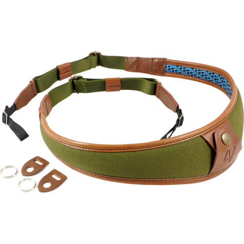 4V Design ALA Canvas and Leather Camera Neck Strap with Universal Fit (Green/Brown)