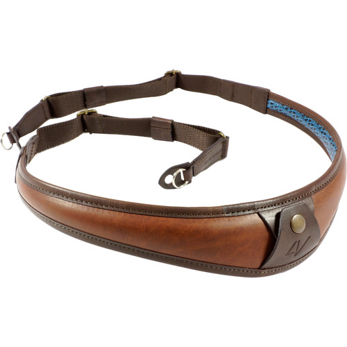4V Design ALA Top Leather Camera Neck Strap with Metal Ring (Brown/Brown)