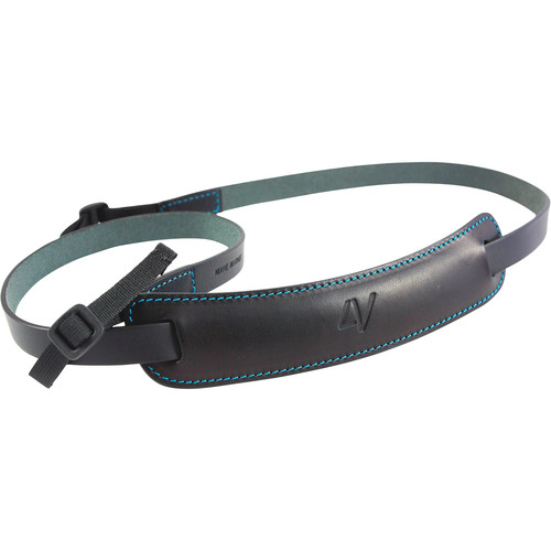 4V Design Medium Classic Leather Mirrorless Camera Neck Strap (Black/Cyan)