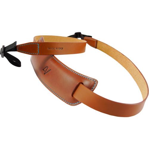 4V Design Large Classic Leather DSLR Camera Neck Strap (Brown/Cyan)