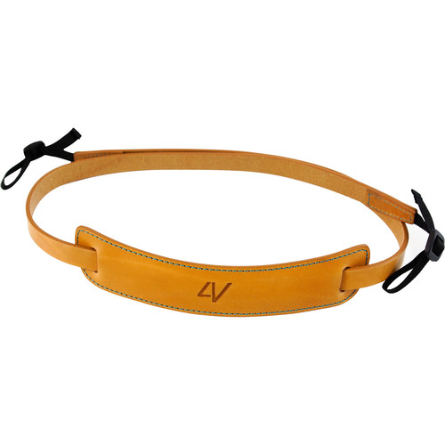 4V Design Medium Classic Leather Mirrorless Camera Neck Strap (Natural/Cyan)