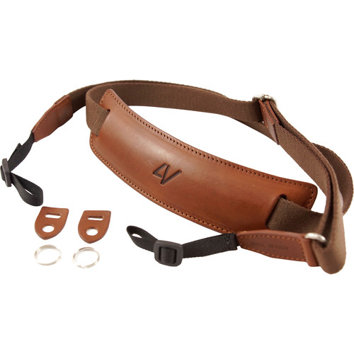 4V Design Large Leather & Cotton Lusso DSLR Camera Neck Strap (Brown/Brown)
