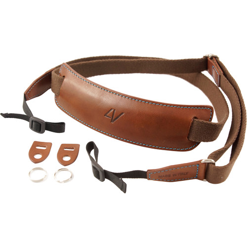 4V Design Large Leather & Cotton Lusso DSLR Camera Neck Strap (Brown/Cyan)