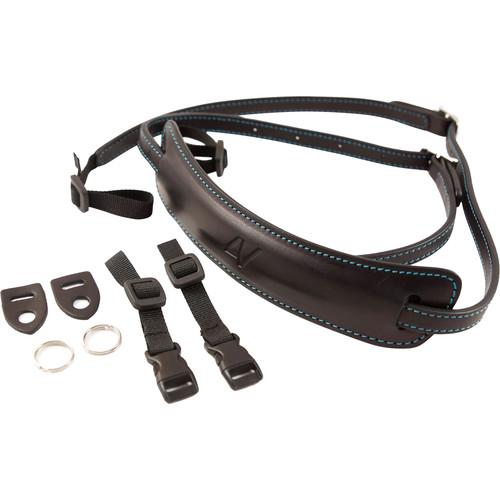4V Design Medium Leather Lusso Mirrorless Camera Neck Strap (Black/Cyan)