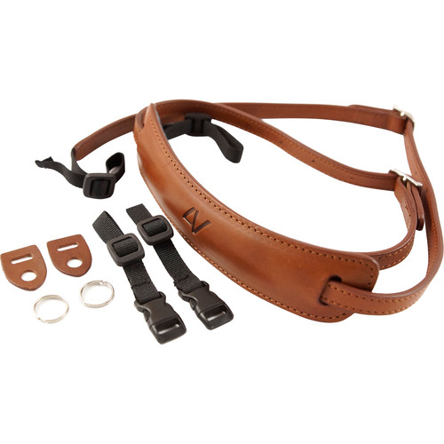 4V Design Medium Leather Lusso Mirrorless Camera Neck Strap (Brown/Brown)