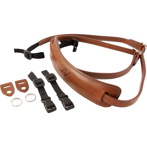 4V Design Medium Leather Lusso Mirrorless Camera Neck Strap (Brown/Cyan)