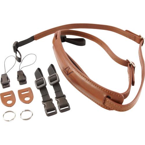 4V Design Slim Leather Lusso Mirrorless Camera Neck Strap (Brown/Brown)