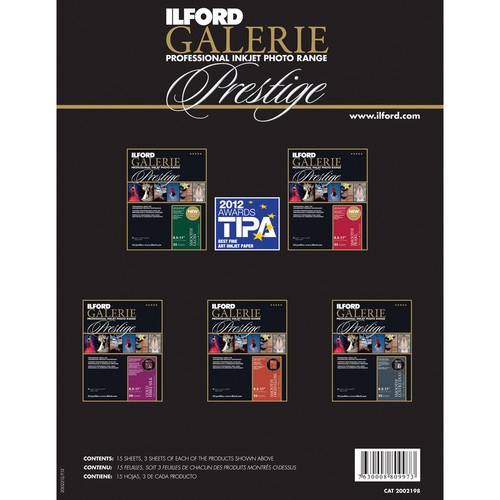 "Ilford Galerie Prestige Professional Inkjet Photo Paper - Complete Smooth Range Sample Pack (8.3 x 11.7"", 15 Sheets)"
