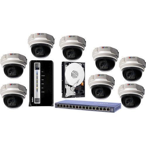 ACTi 8-Cam 1.3 MP 4.2mm Indoor Kit with 8-Ch Network System / 2TB SATA / and PoE Switch