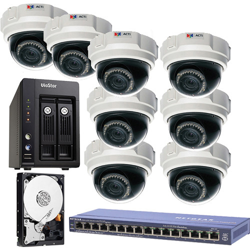 ACTi 8-Cam 1.3 MP 3.3 - 12mm Indoor Kit with 8-Ch Network System / 2TB SATA / and PoE Switch