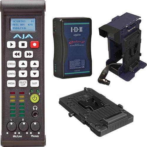 AJA Ki Pro Mini Compact Field Recorder with V-Mount Battery & Adapter Kit