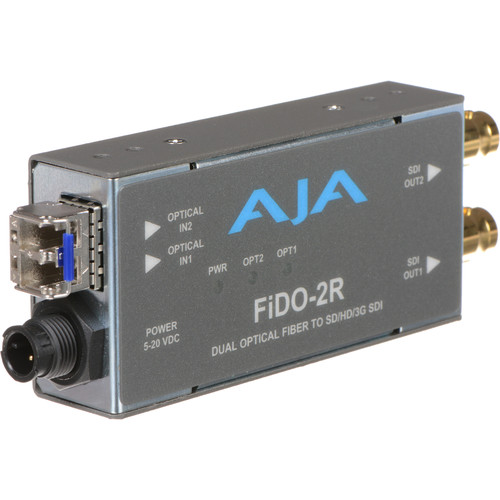 AJA FiDO Dual Channel LC Fiber to 3G-SDI Mini Converter