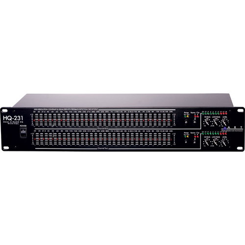 "ART HQ231 - Dual Channel 31-Band Equalizer with 20mm Faders, Feedback Detection Circuitry, LED Energy Indicators, XLR, 1/4"" TRS Balanced and RCA Unbalanced Inputs/Outputs"