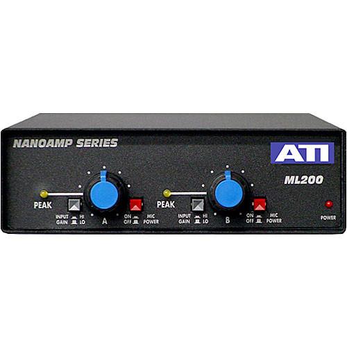 ATI Audio Inc ML200 - Dual Mic to Line Amplifier with Balanced Outputs, Gain Control Knob and Phantom Power