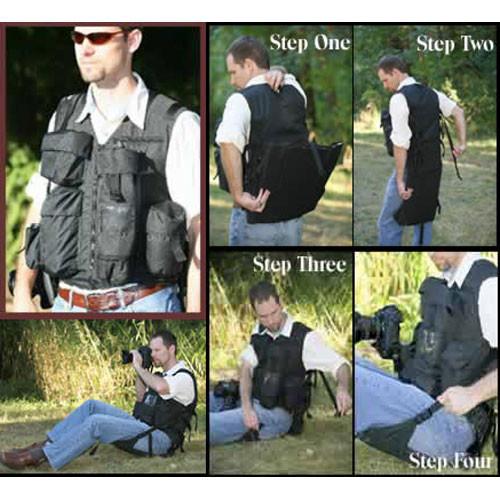 Adventure Vest Professional Photographer's Vest with Built-in Chair, Medium-Large (Black)
