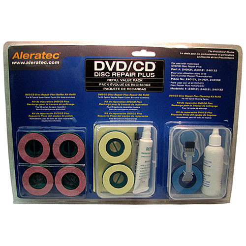 Aleratec DVD/CD Disc Repair Plus Refill Value Pack - Includes Cleaning Refill, Repair Refill and Buffer Refill
