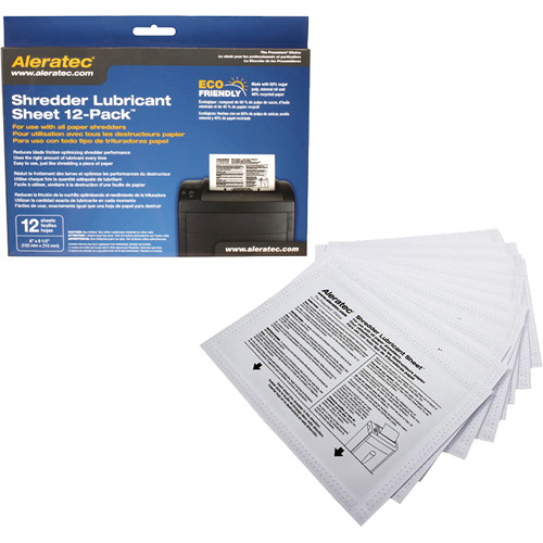Aleratec Shredder Lubricant Sheets (12 Pack)