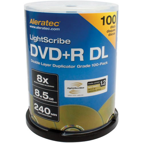 Aleratec DVD+R DL Double Layer 8x LightScribe Duplicator Grade 100-Pack