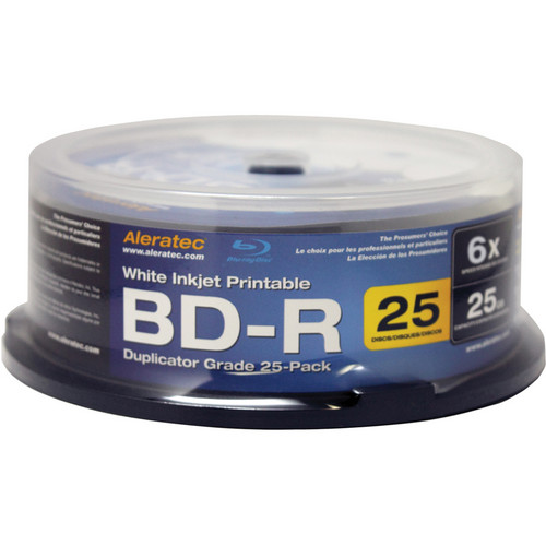 Aleratec White Inkjet Printable BD-R Blu-ray 6X Duplicator Grade Recordable Disc (25 Pack Spindle)