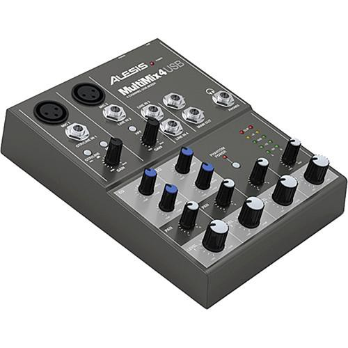 Alesis MultiMix 4 4-Channel Audio Mixer with USB Connector