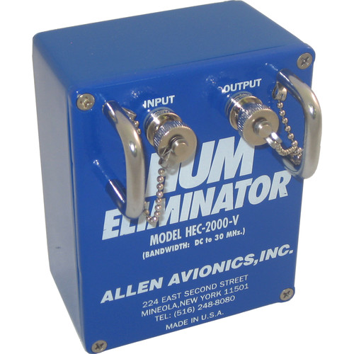 Allen Avionics HEC-2000V Video Hum Eliminator - Video Noise and Hum Eliminator, Composite Video, 75 ohms, Metal Housing
