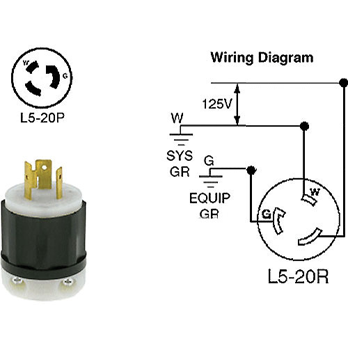 Altman Twist-Lock (L5-20P) Connector, Male - 20 Amps 52-2311 | Twist Lock Plug Wiring Diagram |  | B&H