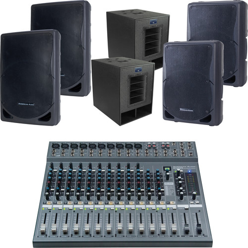 American Audio PA Pack 3X M1624FX PA Mixer Package with Speakers