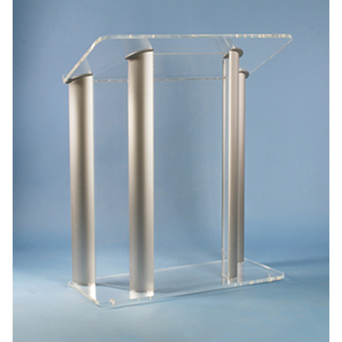 AmpliVox Sound Systems SN3525 4-Post Contemporary Acrylic & Aluminum Floor Lectern