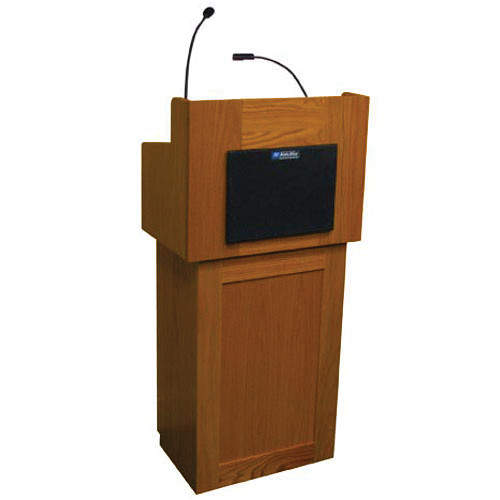 AmpliVox Sound Systems Oxford Two-Piece Lectern with Sound System (Cherry)