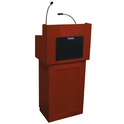 AmpliVox Sound Systems Oxford Two-Piece Lectern with Sound System (Mahogany)