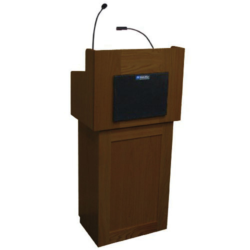 AmpliVox Sound Systems Oxford Two-Piece Lectern with Sound System (Walnut)