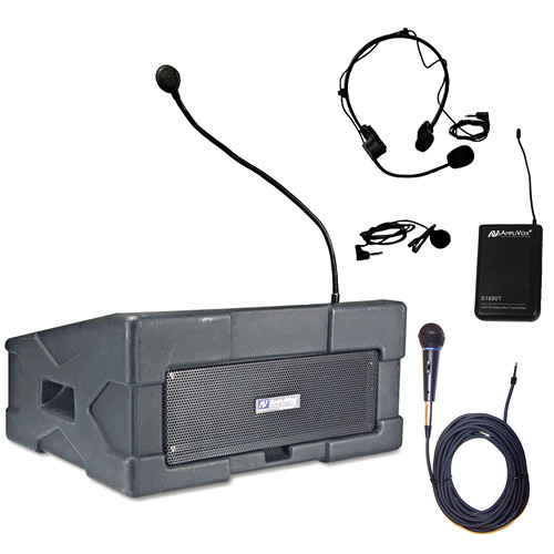AmpliVox Sound Systems SW124-2 Wireless Roving Rostrum Podium PA