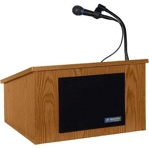 AmpliVox Sound Systems Wireless Tabletop Lectern System (Medium Oak)