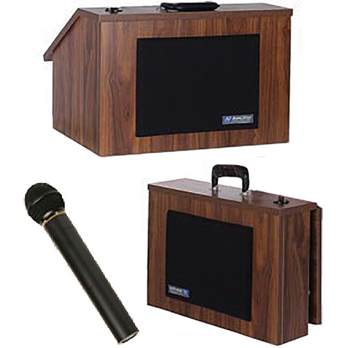 AmpliVox Sound Systems SW272 Wireless EZ Speak Lectern with Sound System & S1695 UHF Wireless Handheld Mic (Walnut Finish)