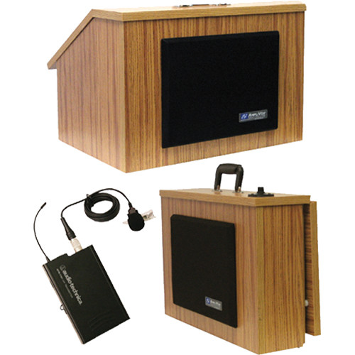 AmpliVox Sound Systems Wireless EZ Speak Folding Lectern with Sound System and Wireless 16 Channel UHF Lapel/Headset Mic Kit (Medium Oak Laminate)