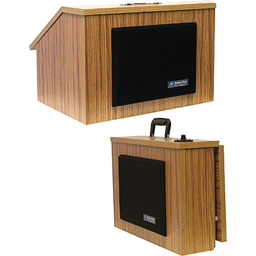 AmpliVox Sound Systems SW272 Wireless EZ Speak Lectern with Sound System & S1696 Flesh Tone Mic Kit (Medium Oak Finish)