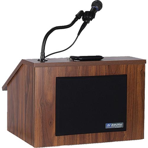 AmpliVox Sound Systems SW272 Wireless EZ Speak Lectern with Sound System & S1696 Flesh Tone Mic Kit (Walnut Finish)