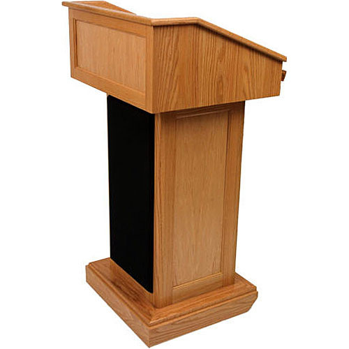 AmpliVox Sound Systems Victoria Wireless Lectern with Handheld Mic (Natural Oak)
