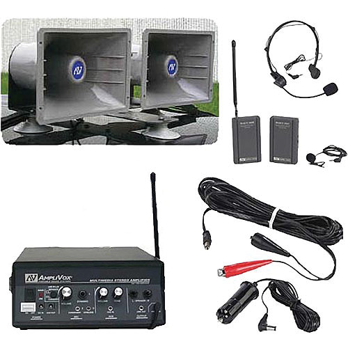 AmpliVox Sound Systems SW312 Sound Cruiser Wireless 60W Dual Horn Mobile PA System