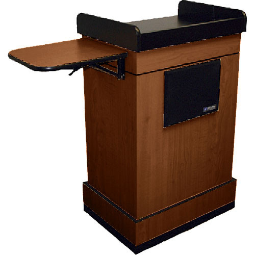 AmpliVox Sound Systems Multimedia Computer Lectern with Wireless Sound System (Lapel Microphone, Mahogany)