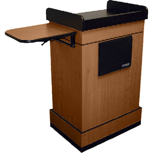 AmpliVox Sound Systems Multimedia Computer Lectern with Wireless Sound System (Lapel Microphone, Medium Oak)