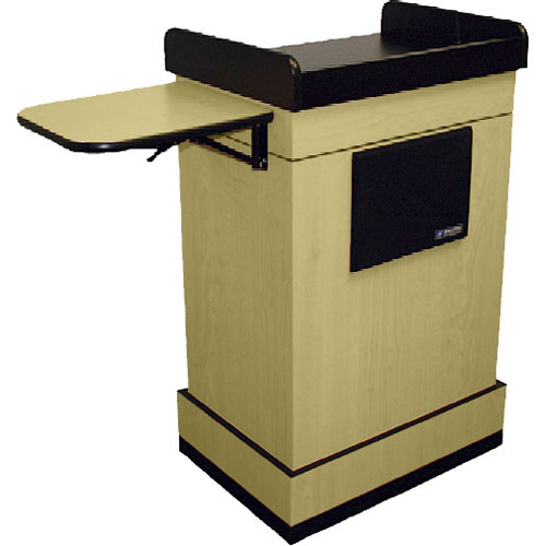 AmpliVox Sound Systems Multimedia Computer Lectern with Wireless Sound System (Headset Microphone, Maple)