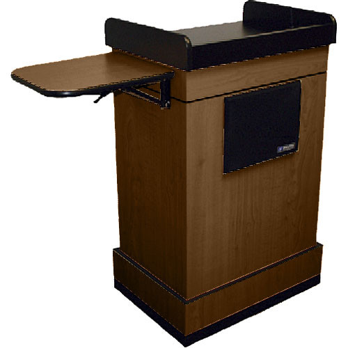 AmpliVox Sound Systems Multimedia Computer Lectern with Wireless Sound System (Headset Microphone, Walnut)