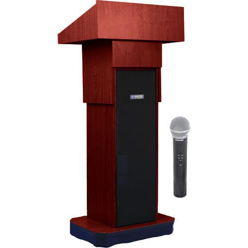 AmpliVox Sound Systems SW505A Executive Adjustable Wireless Sound Column Lectern w/ Handheld Mic (Mahogany)