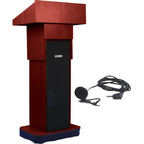 AmpliVox Sound Systems SW505A Executive Adjustable Wireless Sound Column Lectern w/ Lapel Mic (Mahogany)