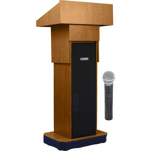 AmpliVox Sound Systems SW505A Executive Adjustable Wireless Sound Column Lectern w/ Handheld Mic (Medium Oak)