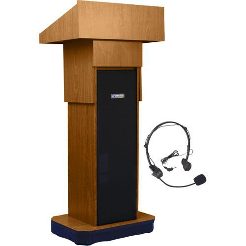 AmpliVox Sound Systems SW505A Executive Adjustable Wireless Sound Column Lectern w/ Headset Mic (Medium Oak)