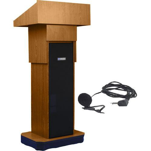 AmpliVox Sound Systems SW505A Executive Adjustable Wireless Sound Column Lectern w/ Lapel Mic (Medium Oak)