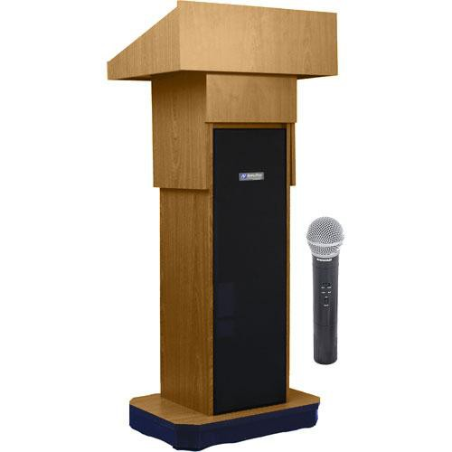 AmpliVox Sound Systems SW505A Executive Adjustable Wireless Sound Column Lectern w/ Handheld Mic (Light Oak)