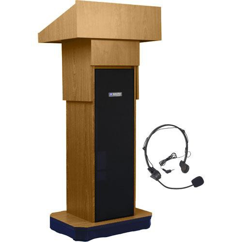 AmpliVox Sound Systems SW505A Executive Adjustable Wireless Sound Column Lectern w/ Headset Mic (Light Oak)